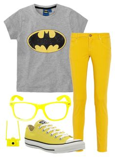 """Rainbow Tag: Yellow"" by ticci-toby ❤ liked on Polyvore featuring M Missoni, Converse and Moschino"