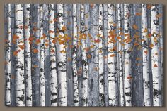 FREE SHIP large abstract painting, forest landscape painting, birch trees, tree painting, abstract trees, modern art, impressionism wall art
