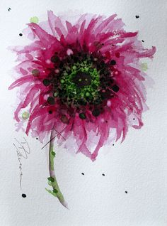 Sunflower Watercolor Dark Pink Flower Art by RedbirdCottageArt, $20.00