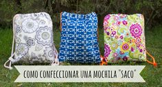 "DIY - Tutorial como confeccionar una ""Drawstring Backpack"" o mochila est..."