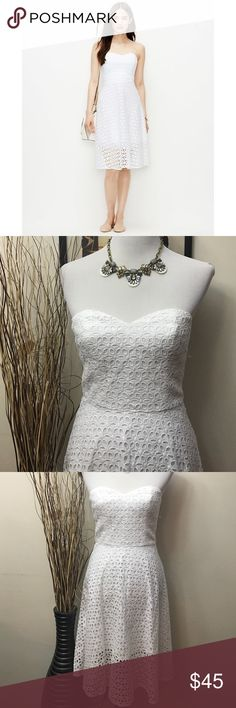 ANN TAYLOR Strapless White Eyeless Tea Dress ANN TAYLOR Strapless White Eyeless Tea Dress size 0. New without tags, sweetheart neckline, sheath fit, tea length. Lined. Back zipper closure. Perfect for a sweet Cardigan or an edgy denim jacket and cowgirl boots! Bust measures 29 inches, waist is 27 inches and length is 33.5 inches. Cotton. Ann Taylor Dresses