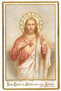 Sacred Heart of Jesus Antique French Catholic Holy Prayer Card, Devotional Ephemera, Religious Art, Chromolithograph Chromo, Bouasse Jesus Prayer, Faith Prayer, Prayer Cards, Jesus Is Lord, Catholic Gifts, Catholic Prayers, Religious Pictures, Religious Art, Powerful Morning Prayer