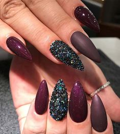 Purple Matte and Shine Nails for Winter Nail Ideas