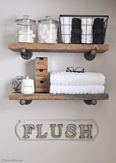 Farmhouse decor for your small apartment bathroom. Flush away! Farmhouse decor for your small apartment bathroom. Flush away! Source by catherine_bal Toilet Shelves, Pipe Shelves, Wooden Shelves, Above The Toilet Storage, Rustic Shelves, Bathroom Shelves Over Toilet, Plumbers Pipe Shelving, Shelves With Pipes, Glass Shelves