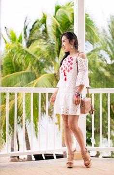 white eyelet tassel flounce dress, nude espadrille wedges, tassel bracelets, kendra scott addie earrings   summer pool beach outfit