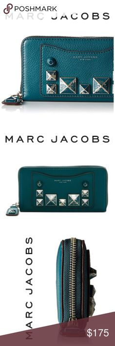 "NWT Marc Jacobs Recruit Chiped Teal Wallet Marc Jacobs Recruit Chiped Studs Standard Continental Wallet Details Show off your grungy chic side with this studded zip wallet.  - Top zip closure - Exterior features slip pocket and mixed stud details - Interior features zip partition pocket, card slots, and 2 bill compartments  - Approx. 4.5"" H x 9.3"" W x 1.5"" D  - Imported Materials Leather exterior, textile lining Marc Jacobs Bags Wallets"