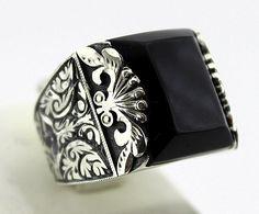 Sterling Silver 925  men ring ,ethnic design with oltu naturel stone .
