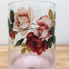 Vtg Blendo Pink Roses Jar Lid canister bathroom apothecary Mid Century 50s Frost