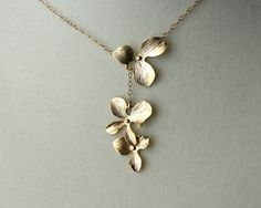 Orchid flower necklace - gold filled chain (DelicacyJ on Etsy)