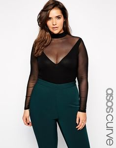 ASOS CURVE Body with Mesh Insert and Long Sleeves