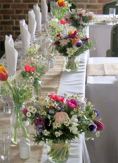 Decorating Your Wedding Reception Tables with Flowers - Rustic