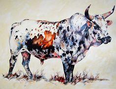 "Terry Kobus - Nguni Cattle Paintings - ""Tri Colour Nguni Bull"" Oil on Canvas 1250 x 1000mm #ngunipaintings"