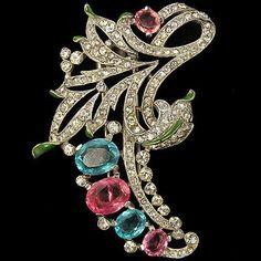 Trifari-039-Alfred-Philippe-039-Aqua-and-Pink-Topaz-Floral-Swirl-Pin-Clip