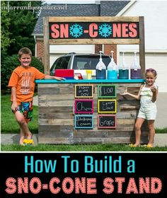 DIY Reclaimed Wood Sno-Cone Stand {with FREE PLANS} | This DIY sno-cone stand is the perfect way to use up old wood, entertain your kiddos for the summer, and even teach a lesson in starting a business and managing finances!
