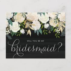 Shop Chalkboard Pale Peonies Will You Be My Bridesmaid Invitation Postcard created by misstallulah. Be My Bridesmaid Cards, Will You Be My Bridesmaid, Bridesmaid Proposal, Bridesmaid Gifts, Wedding Sand, Gold Wedding, Elegant Wedding, Wedding Bride, Groomsmen Invitation
