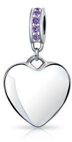 Bling Jewelry 925 Silver Dangle Heart Simulated Amethyst Swarovski Crystal Bead.
