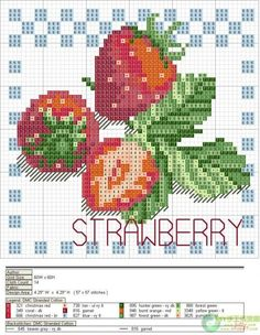 Cross-stitch Fruits Set, part 4 - Strawberry (these are perfect for my kitchen) ... ENCONTRADA EN LA WEB