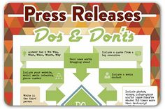 """""""Press Releases Dos & Don'ts"""" I like these reminders for formal and professional press releases. #pr #pressrelease #publicrelations"""