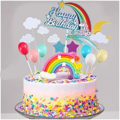 3rd Birthday Cakes For Girls, Candy Birthday Cakes, Rainbow Birthday Party, Happy Birthday Cake Topper, Unicorn Birthday Cakes, Unicorn Rainbow Cake, Unicorn Cake Decorations, Ciel Pastel, Unicorn Cake Topper
