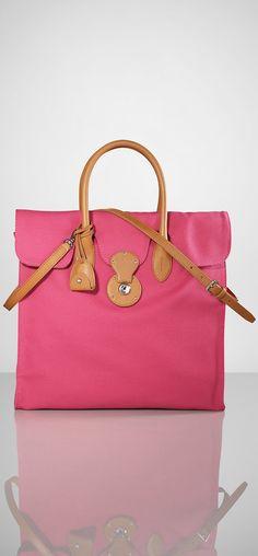 Ralph Lauren Canvas Yellow Pure Color Handbag