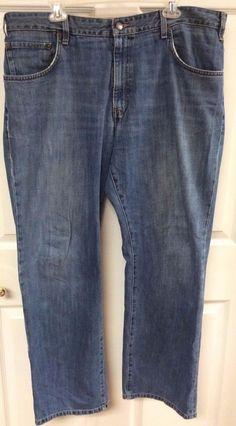 Eddie Bauer Mens Relaxed Fit Denim Blue Jeans Size 38x32 100% Cotton Act. 41x31 #EddieBauer #Relaxed