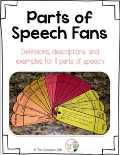 This handy comprehensive 'Parts of Speech Grammar Fan Book ' is Common Core aligned and includes word lists and definitions to: Nouns, Pronouns, Adjectives, Adverbs, Prepositions, Verbs, Verbals, Conjunctions, and Interjections. This grammar fan is a great resource tool for all writers. Using fan books in the classroom engages both visual and kinesthetic learners. It is a handy go-to resource that can be placed in interactive notebooks!