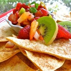 Annie's Fruit Salsa and Cinnamon Chips Recipe Desserts with kiwi, golden delicious apples, raspberries, strawberries, white sugar, brown sugar, preserves, flour tortillas, butter cooking spray, cinnamon sugar