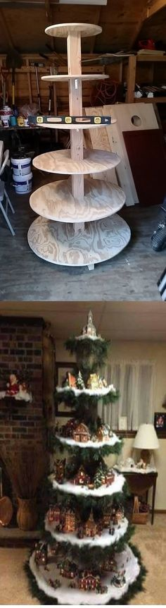 I found this idea on Antietam Adirondacks https://www.facebook.com/AntietamAdirondacks/ They cut plywood or any other choice of material, in as many circles and as high as you want it to be. Wrapping it in tinsel and warm cherubs and angels!