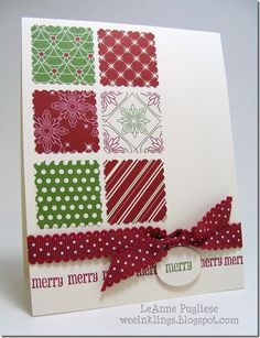 Easy Christmas card with the Be of Good Cheer DP, Postage stamp punch, matching ribbon and a sentiment. Homemade Christmas Cards, Christmas Cards To Make, Xmas Cards, Homemade Cards, Handmade Christmas, Holiday Cards, Simple Christmas, Christmas Squares, Christmas Colors