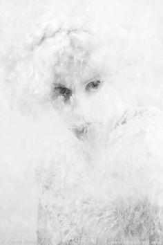 Snow White - FREE SHIPPING - Print Eyes Flour Dust Powder Black White Gray Girl Face Plastic Strange Surreal Creepy Hiding Hidden Portrait on Etsy, $25.00