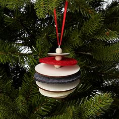Buy John Lewis Felt and Wood Layered Bauble, Multi Online at johnlewis.com