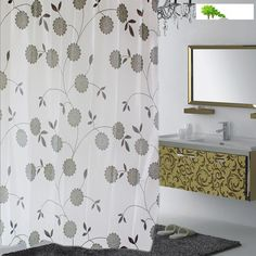 Blind curtains Creative black and white leaves opaque waterproof moldy thickening shower curtains bathroom durable curtains