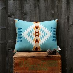 A wool throw pillow made of soft Pendleton wool in a blue Southwest motif. Eco-friendly fill is made from recycled plastic bottles. Pendleton Pillow, Pendleton Wool, Southwest Decor, Southwest Style, Western Decor, Rustic Decor, Farmhouse Decor, Textiles, Wool Pillows