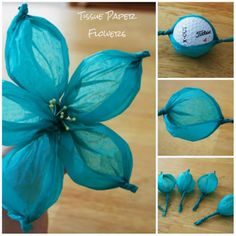 Tissue Paper Flowers. How stinkin' easy and cute! Thanks @Natalie Jost Jost Jost Jost Jost Jost Knight