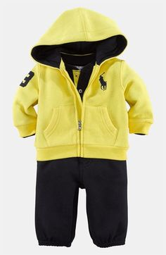 Ralph Lauren Bodysuit, Hoodie  Pants (Infant) available at #Nordstrom