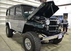 1954 Willy's wagon, 4x4, upmodded, lifted, chromed, two tone, maverick trim Dodge Trucks, Jeep Truck, 4x4 Trucks, Custom Trucks, Vintage Jeep, Vintage Trucks, Willys Wagon, Jeep Willys, Classic Trucks