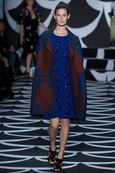 Diane von Furstenberg Fall 2014 RTW. #DianevonFurstenberg #Fall2014 #NYFW mod. 60s. embellished. cobalt blue. printed outerwear. cocoon coat. brown.