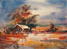 """Contemporary Painting - """"California Desert"""" (Original Art from Fealing Lin Watercolors)"""