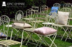 Epic Empire specialise in Event Furniture Hire in Brisbane Garden Chairs, Garden Furniture, Outdoor Furniture Sets, Mismatched Furniture, Empire Furniture, Wrought Iron Chairs, Rustic Chair, Colourful Cushions, Vintage Trends