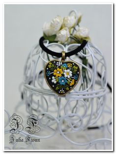 Heart  Pendant Necklace Ukrainian Embroidery Floral Jewelry Feminine Necklace Polymer Clay Applique Floral Embroidery Filigree Technique - pinned by pin4etsy.com