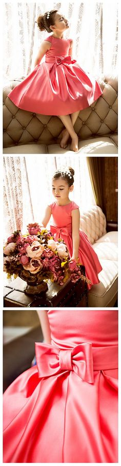 Classic coral satin flower girl dress 70% off plus a coupon deal! Only 1 day left to snatch this deal. ‪#‎Flashsale‬