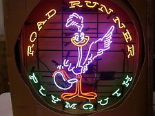 24X24 Bigger Road Runner Plymouth Car Dealer Beer Bar Real Glass Neon Light Sign