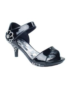 Black Rhinestoned Floral Accent Sandals