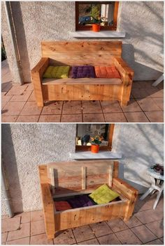 You can beautify your any place with the awesome sofa design which has been made only by recycled wood pallets. You can put small colorful cushions on it and it also a storage box.