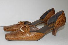 LADIES #LIZCLAIBORNE  LIZ CLAIBORNE FLEX KITTEN HEELS w RING BUCKLE CROC EMBOSSED TAN Size 8.5 in Clothing, Shoes & Accessories   eBay