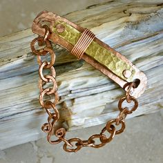 Hammered Copper and Brass Riveted Metal Jewelry by EnviDesign, $48.00