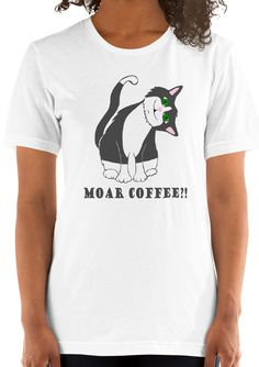 Addict Cat Women T-shirt - Cuddlezilla Funny Outfits, Funny Animal, Cute Designs, Addiction, Feels, T Shirts For Women, Coffee, Cats, Mens Tops