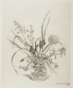 Title - Spring, Fleurs des champs du printemps dans un verre (Printemps) Copperplate Engraving on paper By Kiyoshi Hasegawa (1891-1981) Plate Size 11.25 in. x 9 in. IDNY Catalog# 09Botanicals26 Contact mail@idny.biz