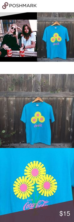 """VTG 90s Coca Cola tshirt size L 1998 Blue Coca Cola tshirt with sunflowers - vintage 90s- front length 28"""" sleeve length 8"""" armpit to armpit 22"""" great shape no holes or stains Vintage Tops Tees - Short Sleeve"""