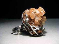 Raw Gemstone Ring  Aragonite